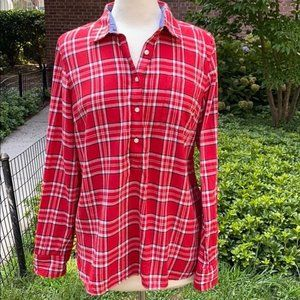 Tommy Hilfiger Red and White Plaid Roll Tab Shirt